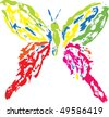 Colorful butterfly on a white background - stock vector