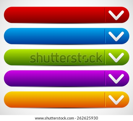 Colorful Button Set With Arrow - Drop Down buttons - stock vector