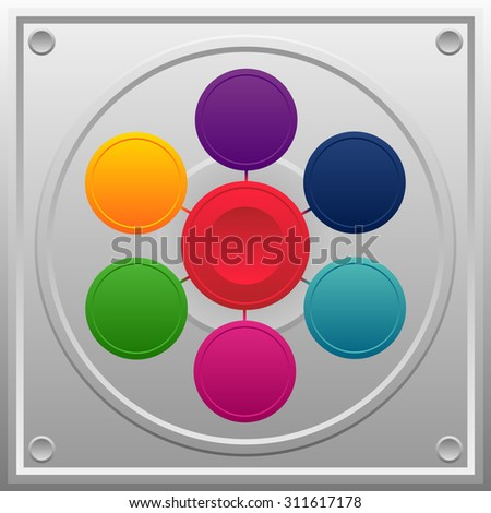 colorful buttons on a metal background - stock vector