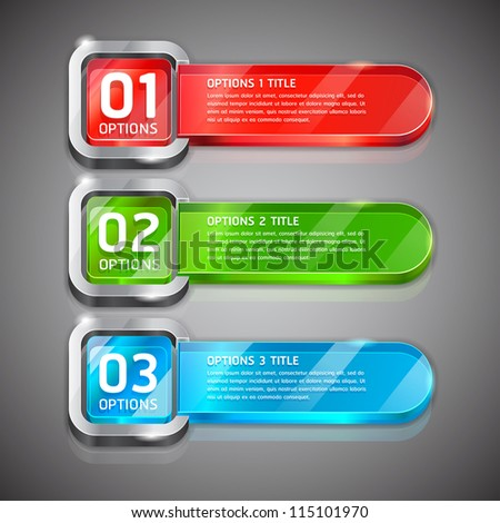 Colorful Buttons Website Style Number Options Banner & Card Background. Vector illustration - stock vector