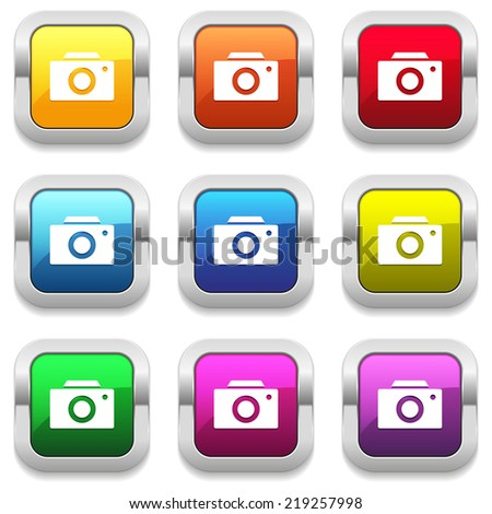 Colorful buttons with camera icon and metallic border - stock vector