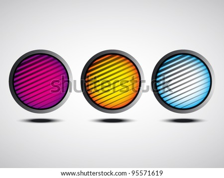 colorful buttons with lines - stock vector