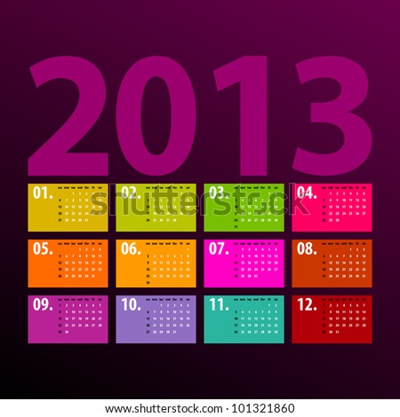 colorful 2013 calendar design on dark background - week starts with sunday - stock vector