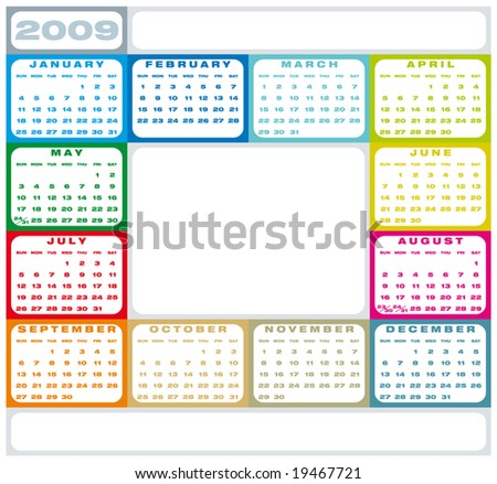 Colorful Calendar for 2009.