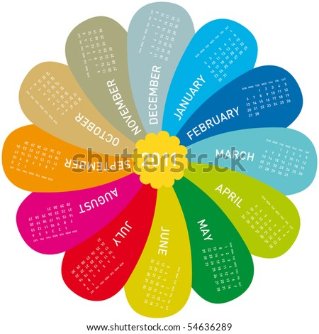 colorful calendar for 2011. flower design, each month in a petal. Week starts on Sunday - stock vector