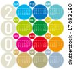 Colorful Calendar for 2009, in a circles theme - stock vector