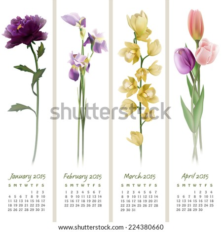 Colorful calendar for January-April 2015 with floristic design elements. Vector illustration - stock vector