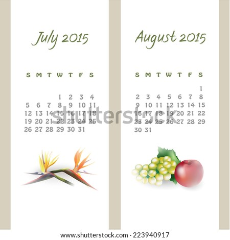 Colorful calendar for July-August 2015 with seasonal design elements. Vector illustration