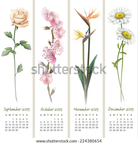 Colorful calendar for September-December 2015 with floristic design elements. Vector illustration - stock vector