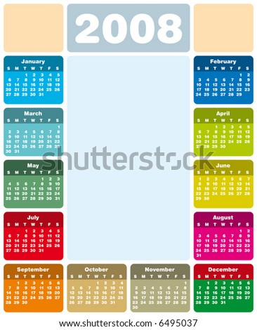 Colorful Calendar for 2008. With Space reserved for logo and a picture in the center.