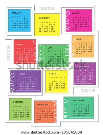Colorful Calendar For Year 2015. Vector illustration