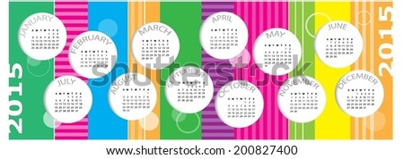 Colorful Calendar For Year 2015. Vector illustration - stock vector