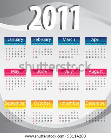 Colorful calendar 2011 in blue, yellow and pink - stock vector