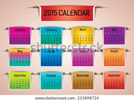 Colorful 2015 calendar in us style, start on sunday, each month with individual table.  - stock vector
