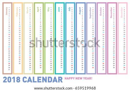 2018 1 page calendar