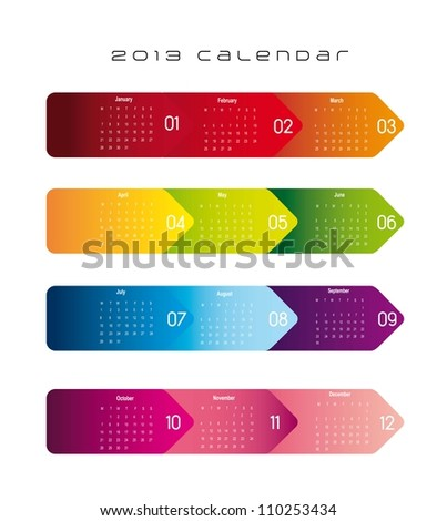 colorful 2013 calendar over white background. vector illustration - stock vector
