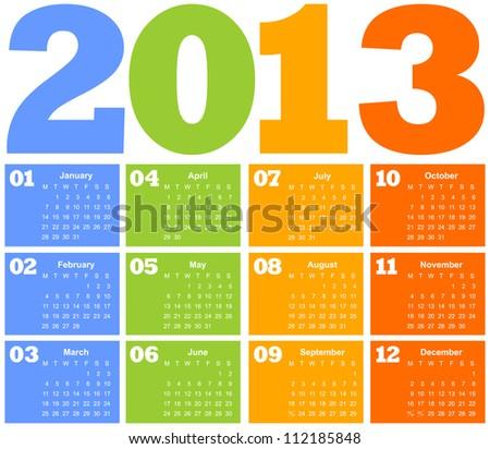 colorful calendar. vector illustration - stock vector
