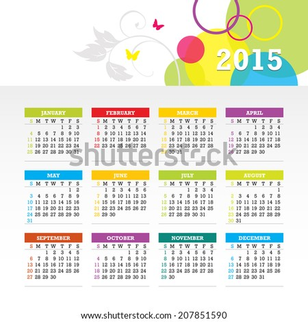 Colorful 2015 Calendar. Week starts with sunday. Vector graphic template. - stock vector