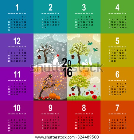 colorful 2016 calendar - week starts with sunday - with four seasons illustration featuring a tree, birdhouse, birds, pumpkins and snowman - stock vector