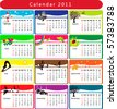 Colorful Calendar 2011 with various seasonal objects - stock photo