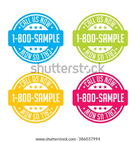 Colorful Call Us Now Stamp Labels - stock vector