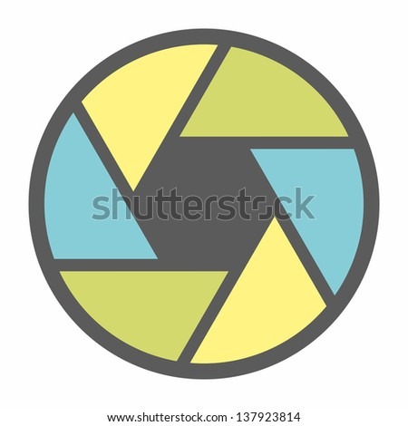 Colorful camera objective icon - stock vector