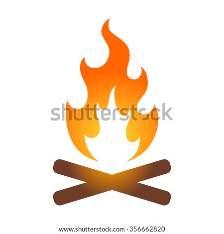 Colorful campfire / bonfire icon for travel apps and websites - stock vector