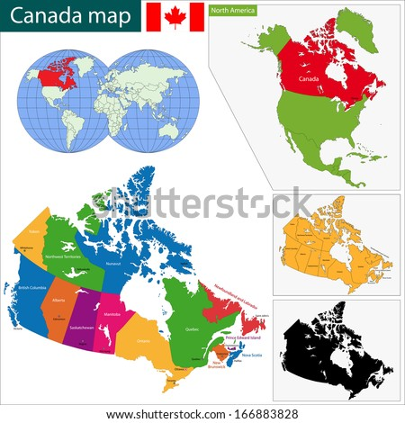 Colorful Canada map with provinces and capital cities - stock vector