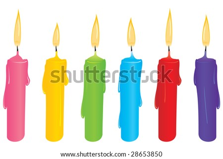 Colorful candle set - stock vector