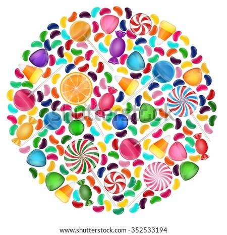 Colorful candy background with concept circle.vector - stock vector