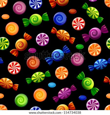 Colorful candy seamless pattern. Sweets on black background. Vector illustration  - stock vector