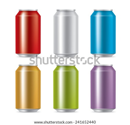 Colorful cans - stock vector