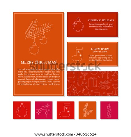 Colorful card templates with linear Christmas icons. Set of Christmas cards with different winter and Christmas symbols. Christmas ball, Christmas lights, sock, fir twigs, candle. - stock vector