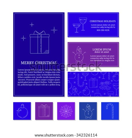 Colorful card templates with linear Christmas icons. Set of Christmas cards with different winter and Christmas symbols. Christmas ball, present box, snowflake, snowman, candy cane. - stock vector