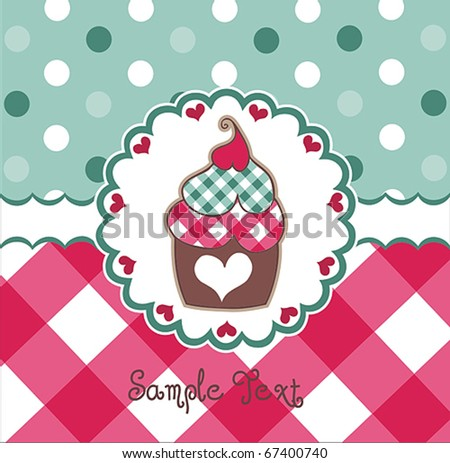 Colorful Card With Cupcake