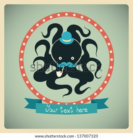 Colorful card with octopus. Can be used for postcard. - stock vector