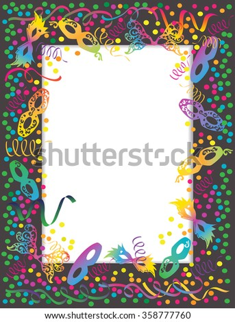 Colorful Carnival portrait frame with masks and confetti.