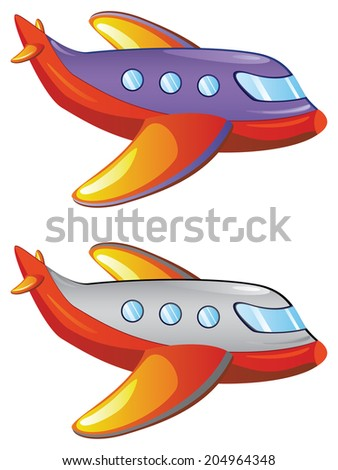Colorful cartoon airplane illustration on white background. - stock vector