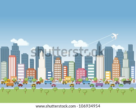 Colorful cartoon city landscape - stock vector