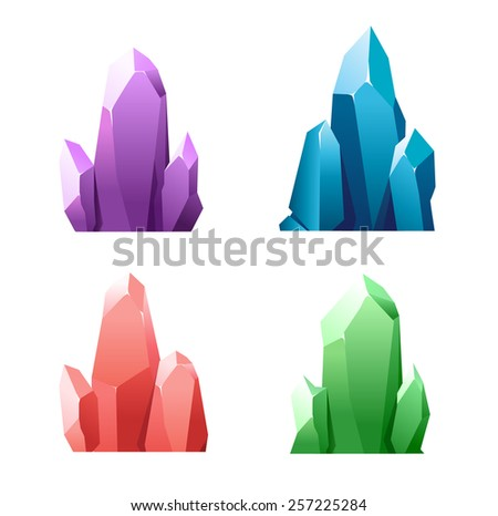 Colorful cartoon crystals isolated on background - stock vector