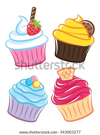 colorful cartoon cupcake isolated on white background