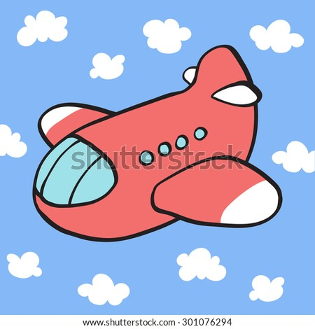 Colorful cartoon cute toy airplane in sky. Baby's / toddler's first words/Memory/Bingo/Match game printable flash card design. Outline vector clip art eps 10 illustration. - stock vector
