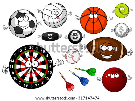 Colorful cartoon dartboard with arrows, football, soccer, volleyball, basketball, baseball, golf, rugby, tennis, billiards, bowling balls and ice hockey puck for sporting theme design - stock vector