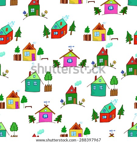 Colorful cartoon houses collection. Vector illustration of the different houses. Collection of cute houses in a whimsical childlike style.   Seamless pattern for design or scrapbook.