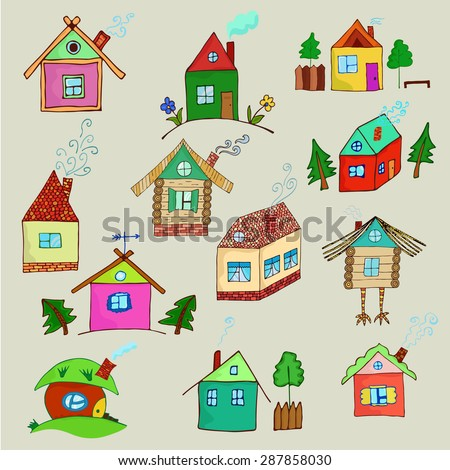 Colorful cartoon houses collection. Vector illustration of the different houses on a white background. Collection of cute houses in a whimsical childlike style.
