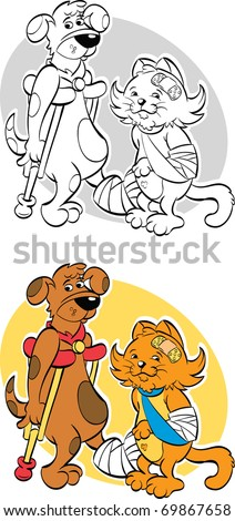 Colorful cartoon illustration of a dog and cat that have been injured. The dog is using crutches while the cat has an arm in a sling.