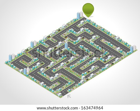 Colorful cartoon isometric city in the shape of a maze  - stock vector
