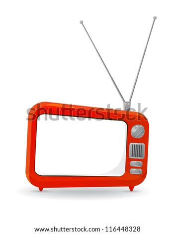colorful cartoon style TV set with a blank copy space on the screen, isolated on white. EPS10 vector - stock vector