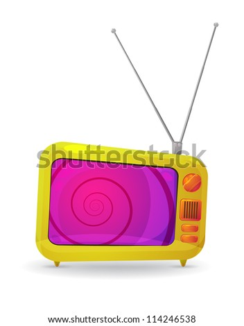 colorful cartoon style TV set with a hypnotic spiral on the screen, isolated on white. EPS10 vector - stock vector