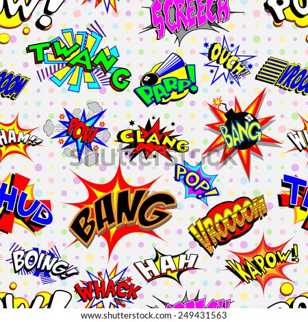 Colorful cartoon text captions. Explosions and noises. Tileable vector wallpaper background that repeats left, right, up and down